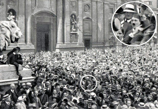 640px-A young Hitler cheers the start of World War One, 1914