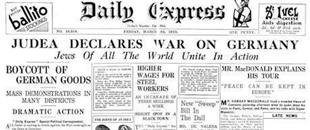 The Daily Express, 24. mars 1933: «Judea Declares War on Germany – Jews of All the World Unite in action»